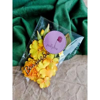 Набор цветов с пионом, желтый