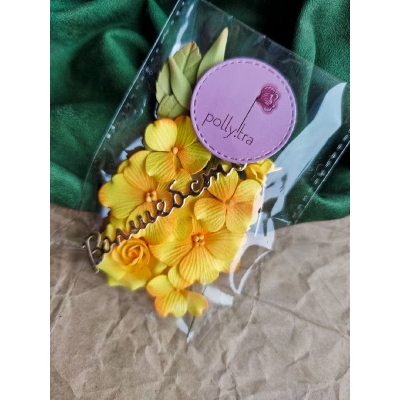 Набор цветов с розой, желтый
