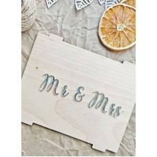 Надпись из акрила Mr&Mrs, серебро