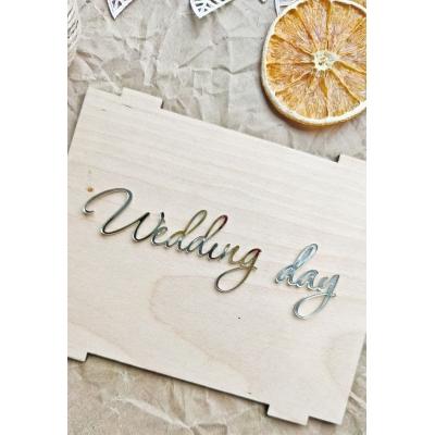 Надпись из зеркального акрила Wedding day, серебряный цвет