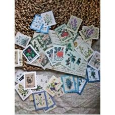 """Стикеры в форме марок """"Ботаническая любовь"""""""