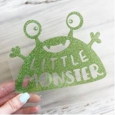 Надпись из термотрансфера с глиттером Little Monster, цвет светло-зелёный, 13,7х10,5 см