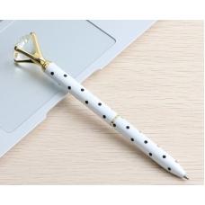 Ручка с бриллиантом, белая в черный горох, шариковая, чернила синие