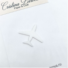 Фигурка из акрила Самолет, белый матовый, Cristina Petrova