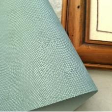 Переплетный кожзам серо-голубой с тиснением под кожу питона 35х50 см