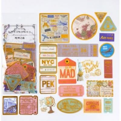 Стикеры с золотым фольгированием Путешествия