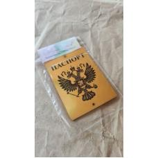 """Табличка """"Паспорт с гербом РФ"""" золото, 6х8 см"""