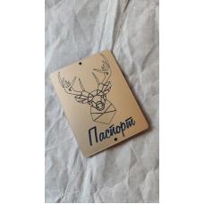 """Табличка """"Паспорт с полигональным оленем"""" золото, 6х8 см"""