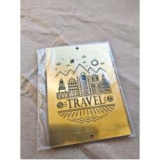 "Табличка ""Travel"" золотая, 6х8 см"