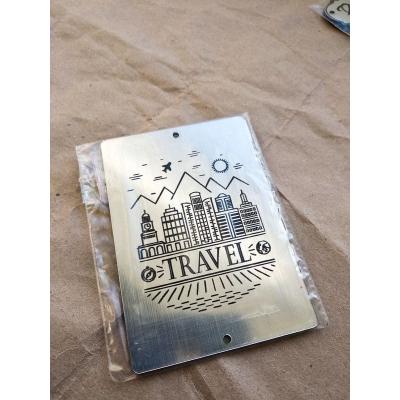 "Табличка ""Travel"" серебро, 6х8 см"